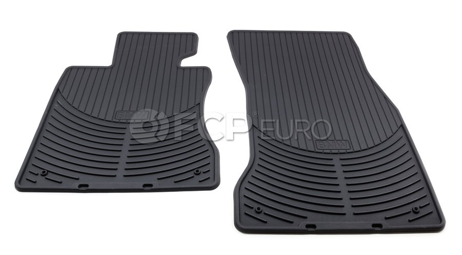 BMW Rubber Floor Mats Set of 2 Black - Genuine BMW 82550302997