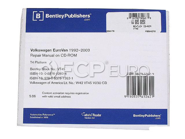 VW Repair Manual On CD-ROM - Bentley VT45