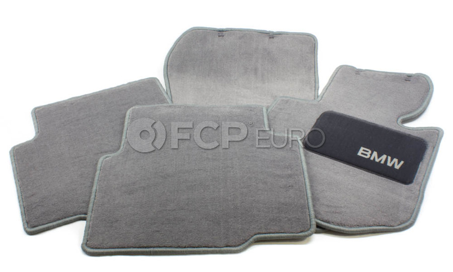 BMW Carpeted Floor Mats set of 4 Grey - Genuine BMW 82111468283