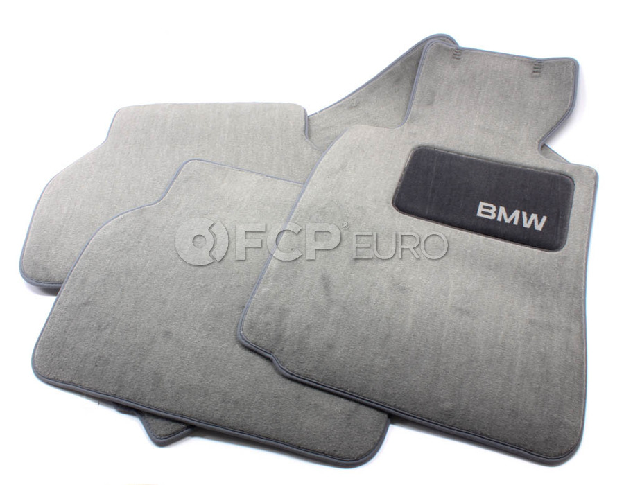 BMW Carpeted Floor Mats set of 4 Grey - Genuine BMW 82111469761