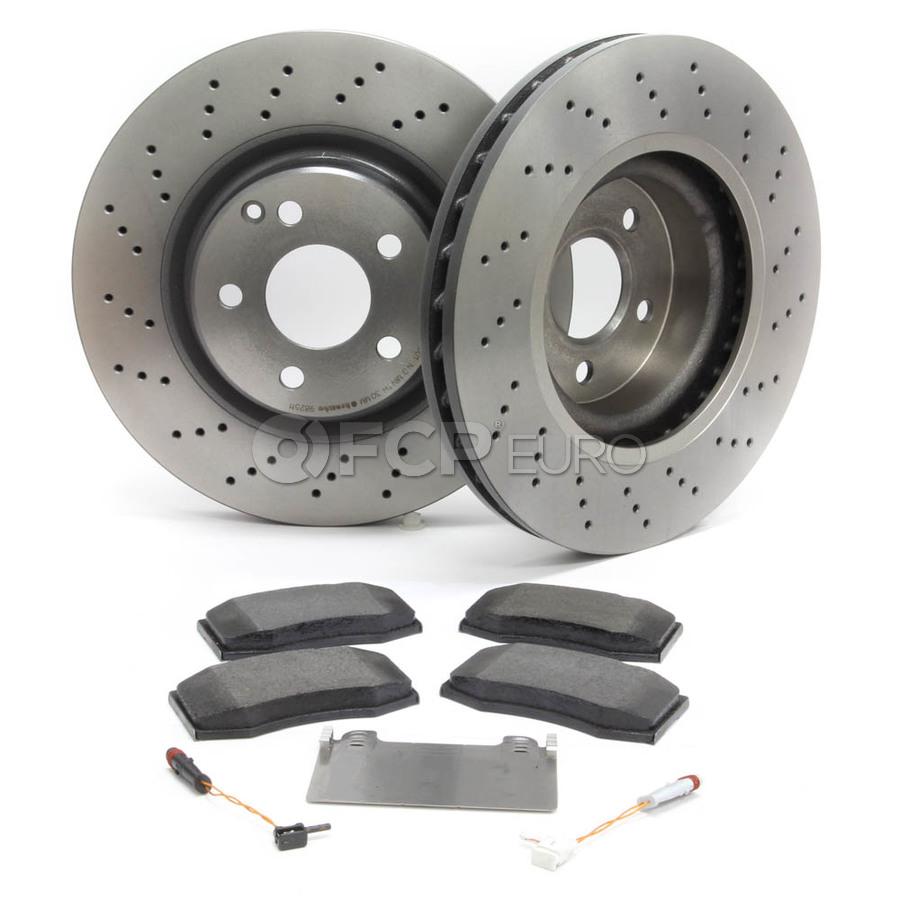 For Mercedes SL500 W129 Set of Front Cross Drilled Brake Rotors Pads /& Sensors
