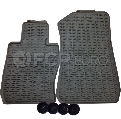 BMW Black Rubber Floor Mat Set Front (E84) - Genuine BMW 51472336797