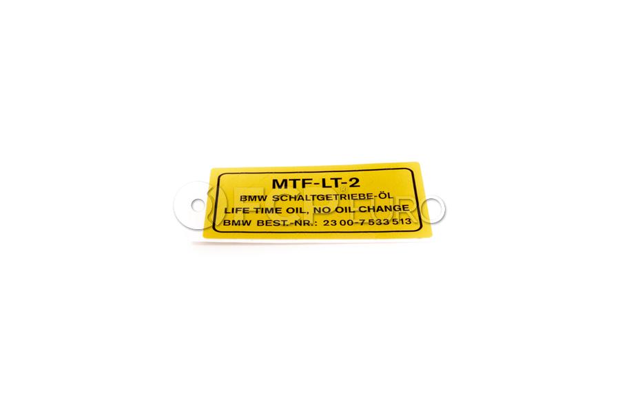 BMW Stick-On Label Transmission Oil (MtfLt2) - Genuine BMW 23007533514