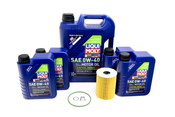 Porsche Engine Oil Change Kit (0W-40) - Liqui Moly/Mahle 970POILKT6