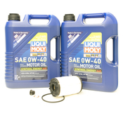 Porsche Engine Oil Change Kit (0W-40) - Liqui Moly/Purflux 971OILKT6