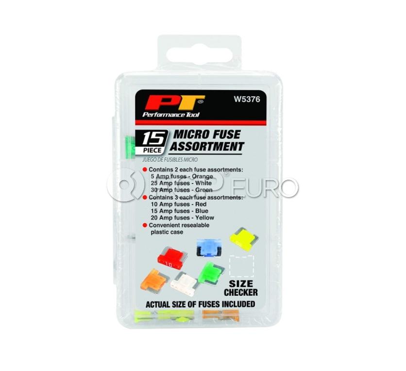 Micro Fuse Assortment 15-Piece - Performance Tool W5376