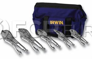 5 Piece Locking Pliers Set w/ Canvas Tool Tote Bag - Irwin VG2077704