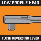 "3/8"" Drive 90-Tooth Stubby Flex Head Teardrop Ratchet 5"" - Gearwrench 81212T"