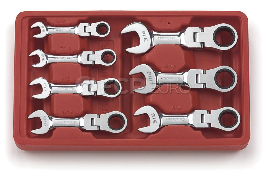 7 Pc. 12 Point Stubby Flex Head Ratcheting Combination SAE Wrench Set - Gearwrench 9570
