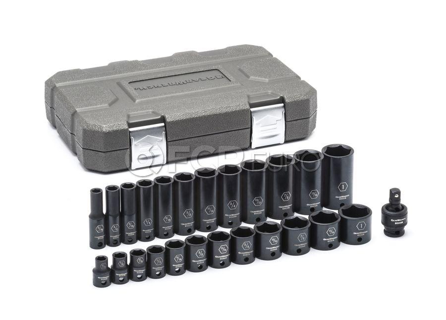 "25 Pc. 3/8"" Drive 6 Point Standard & Deep Impact SAE Socket Set - Gearwrench 84919N"