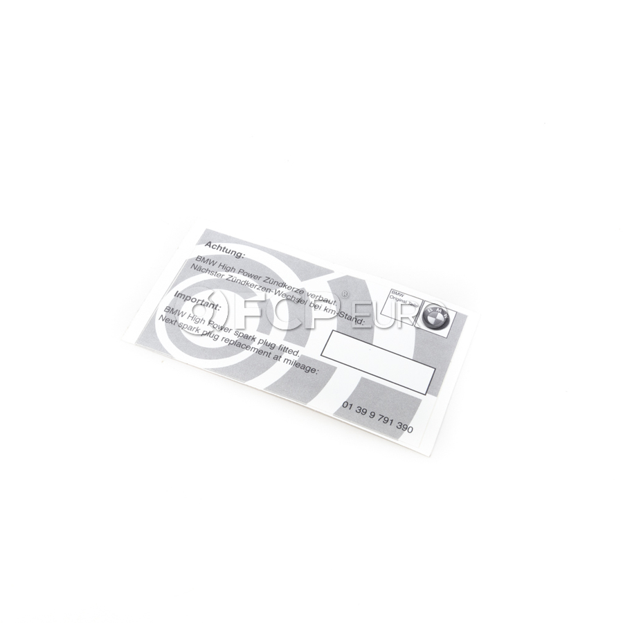 BMW Spark Plug Service Indicator Label - Genuine BMW 01399791390